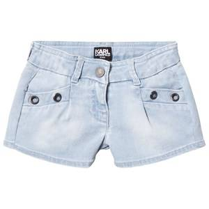Karl Lagerfeld Kids Girls Shorts Blue Blue Denim Shorts with Grommet Detail