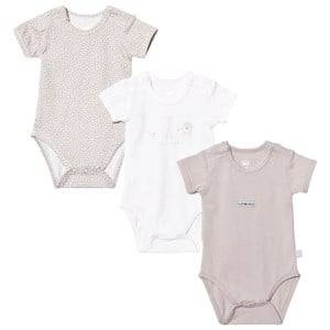 Hust&Claire; Unisex All in ones Beige Baby Body 3-Pack Sand