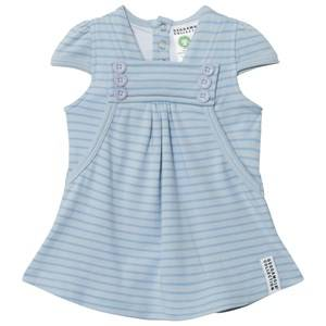 Geggamoja Girls Dresses Blue Summer Button Dress Soft Blue Blue