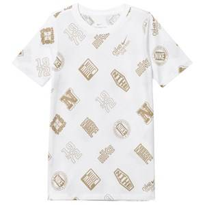 NIKE Boys Tops White White Logo Stickers Tee