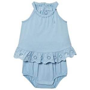 Ralph Lauren Girls Dresses Blue Lightweight Cotton Romper Blue