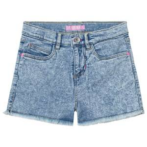 Guess Girls Shorts Blue Acid Wash Denim Shorts with Frayed Edge