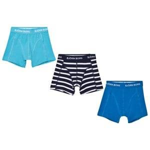 Bjorn Borg Boys Underwear Blue 3 Pack of Blue and Stripe Trunks