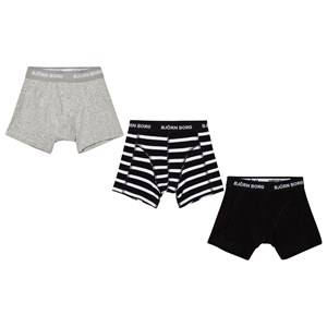 Bjorn Borg Boys Underwear Black 3 Pack of Black, Grey and Stripe Trunks