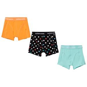 Bjorn Borg Boys Underwear Multi 3 Pack of Yellow, Blue and Spot Trunks