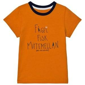 Didriksons Unisex Tops Orange Krabban Kids T-Shirt Glow