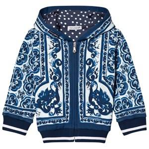 Dolce & Gabbana Boys Jumpers and knitwear Blue Hoodie in Printed Cotton Blue