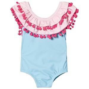 Livly Girls Swimwear and coverups White Doubled Ruffled One-Piece Bathing Suit Yucca Pink Solid