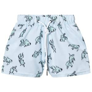 Livly Boys Swimwear and coverups White Swim Trunks Gold Fish Blue