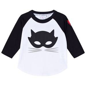Scamp & Dude Unisex Tops White Super Charged Raglan – Cat Mask