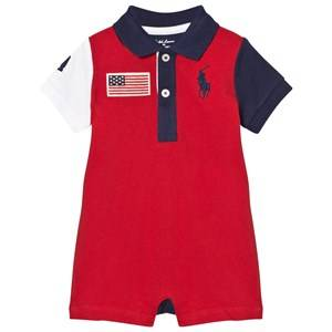 Ralph Lauren Boys All in ones Multi Cotton Mesh Polo Shortall Red