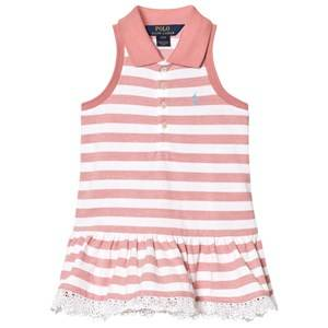Image of Ralph Lauren Girls Dresses Pink Striped Sleeveless Polo Dress Pink and White
