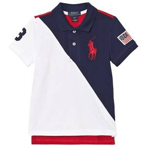 Image of Ralph Lauren Boys Tops Navy Color-Blocked Cotton Mesh Polo Navy, White and Red
