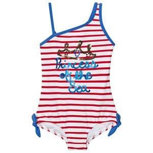 Lands End Girls All in ones Multi Multi Graphic Princess Of the Seaside Stripes Swimsuit