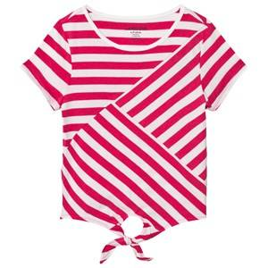 Lands End Girls Tops Pink Pink and White Tie Front Top
