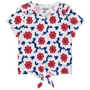 Lands End Girls Tops Blue Blue and White Tie Front Top