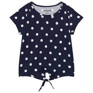 Lands End Girls Tops Multi Navy Tie Front Top