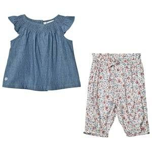 Ralph Lauren Girls Clothing sets Multi Blue Chambray Top and Floral Trouser Set