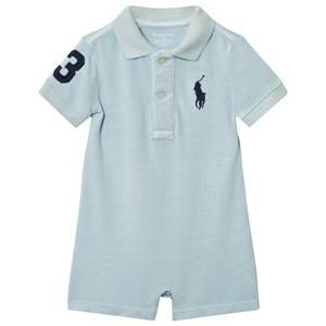 Ralph Lauren Boys All in ones Blue Cotton Mesh Polo Shortall Pale Blue