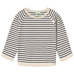 FUB Unisex Jumpers and knitwear Blue Baby Striped Sweater Ecru And Denim