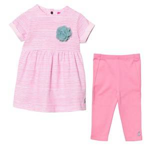 Joules Girls Clothing sets Pink Bright Pink Stripe Dress and Leggings Set