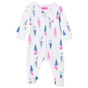 Tom Joule Girls All in ones White White Ice Cream Print Footed Baby Body