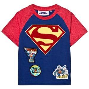 Fabric Flavours Boys Tops Blue Superman Chenille Logo Patch Tee