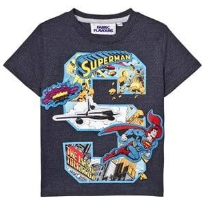 """Fabric Flavours Boys Tops Navy Superman """"S"""" Comic Graphic Tee"""