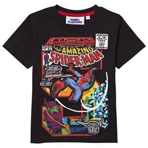 "Fabric Flavours Boys Tops Black Spider-Man ""S"" Comic Graphic Tee"