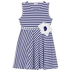 Il Gufo Girls Dresses Blue Blue Jersey Flower Dress