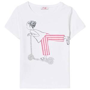Il Gufo Girls Tops White White Scooting Girl Print Tee
