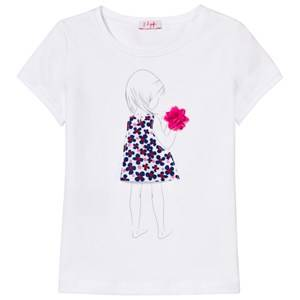 Il Gufo Girls Tops White White Applique Flower Tee