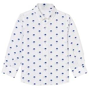 Il Gufo Boys Tops White White and Blue Palm Print Seersucker Shirt