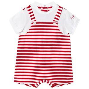 Il Gufo Boys All in ones Red Red and White Mock Overalls Romper