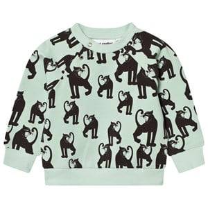 Mini Rodini Unisex Jumpers and knitwear Green Panther Sweatshirt Light Green