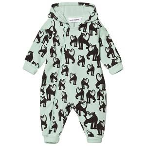 Mini Rodini Unisex All in ones Green Panther Onesie Light Green