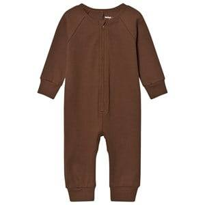 Mini Rodini Unisex All in ones Brown Rib Onesie Brown