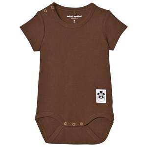 Mini Rodini Unisex All in ones Brown Baby Body Rib Brown