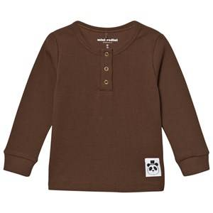 Mini Rodini Unisex Tops Brown Solid Rib Grandpa Top Brown