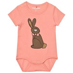 Mini Rodini Girls All in ones Pink Rabbit Short Sleeved Baby Body Pink