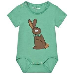 Mini Rodini Unisex All in ones Green Rabbit Short Sleeve Baby Body Green