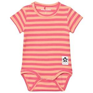 Mini Rodini Girls All in ones Pink Stripe Rib Short Sleeve Body Pink