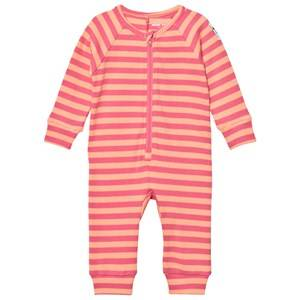Mini Rodini Girls All in ones Pink Stripe Rib One-Piece Pink