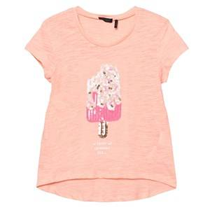 IKKS Girls Tops Pink Sequin Ice Lolly T-Shirt Pink Coral
