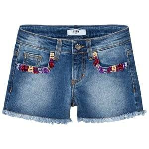 MSGM Girls Shorts Blue Blue Multi Embroidered and Beaded Denim Shorts