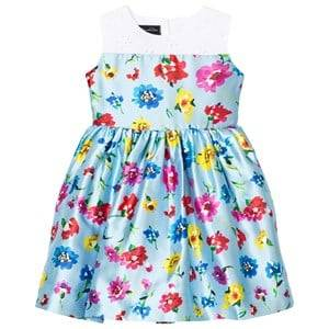 Oscar De La Renta Girls Dresses Blue Scattered Flower Mikado Party Dress