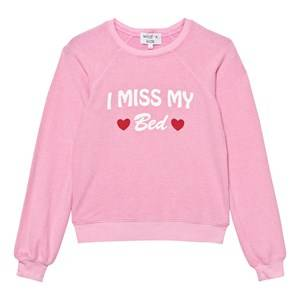Wildfox Girls Jumpers and knitwear Pink Pink I Miss My Bed Print Sweater