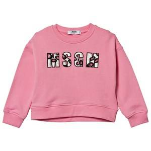 MSGM Girls Jumpers and knitwear Pink Pale Pink Beaded Logo Boxy Sweatshirt
