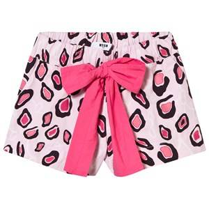 MSGM Girls Shorts Pink Pink Printed Shorts with Bow Tie