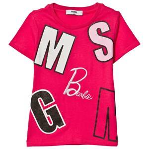 MSGM Girls Tops Pink Fuchsia Logo and Barbie Tee